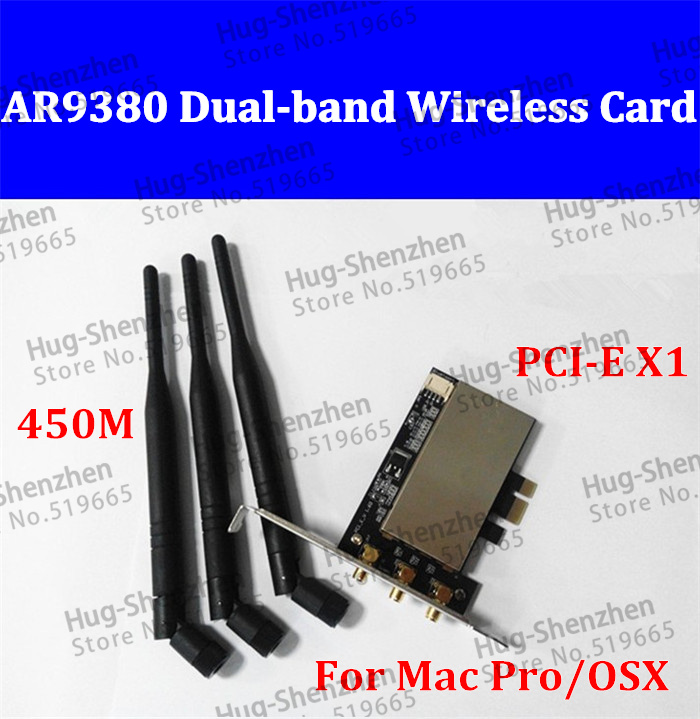 AR5BXB112 AR9380 PCI-E 1X PCI-E Wireless Desktop WiFi WLAN Card 450M Dual-band (2.4/5 GHz) for MACPRO /OSX