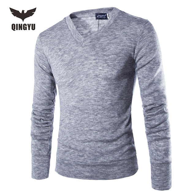 Pull Homme 2016V-Neck Sweaters Stylish Knitted Long Sleeve Men Sweater Male Solid Bottoming Sweaters Pullover 7 Colors