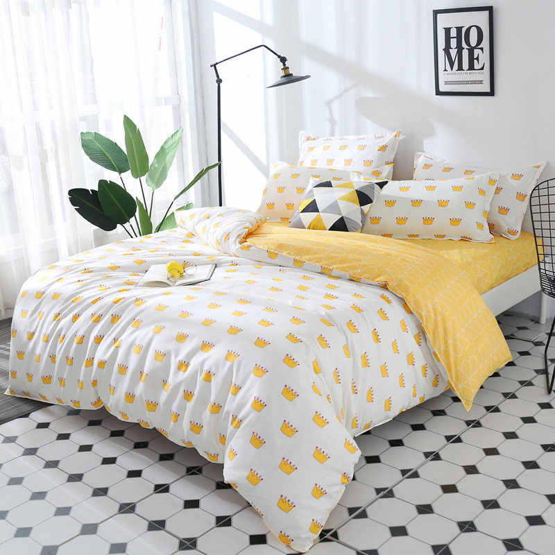 Crown 4pcs Girl Boy Kid Bed Cover Set Cartoon Duvet Cover Adult Child Bed Sheets And Pillowcases Comforter Bedding Set 2TJ-61003