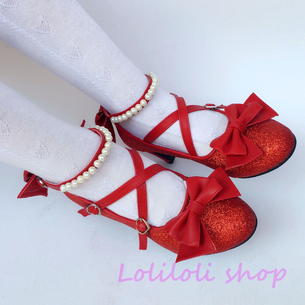 Princess sweet lolita shoes Japanese design customized special shaped red shinning bow tie high heel Stiletto shoes 5009a цена