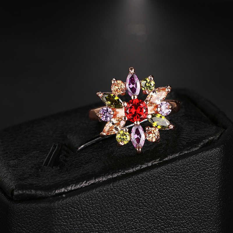 แฟชั่นMona Lisaดอกไม้แหวนกับRose Goldสีที่มีสีสันAAAเพทายแต่งงานbijouxแหวนสำหรับผู้หญิงAR020