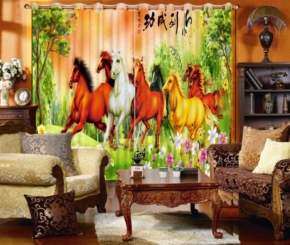 3D Curtain Fashion Customized Oil Painting Horse Curtains For Bedroom Custom Any Size Curtain Blackout Curtain Living Room
