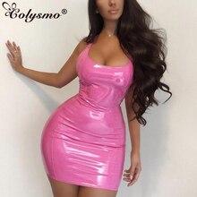 Colysmo Mini Summer Dress 2019 Sexy PU Leather Dresses Woman Party Night Club Wear Tight Neon Pink Dress Green Bodycon Dress New цена и фото