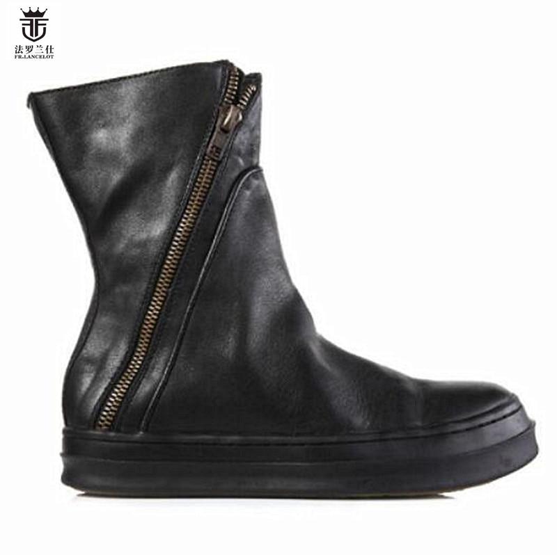 2018 FR.LANCELOT Brand Genuine Leather Side Zipper Flats Chelsea Boots Top Quality Men Ankle Boots Low Heel Shoes Mens