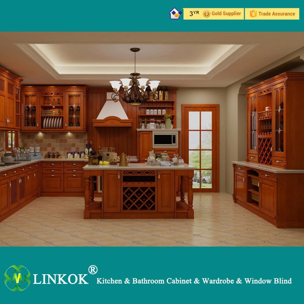 Linkok Furniture Large island Wooden Kitchen Cabinet european style