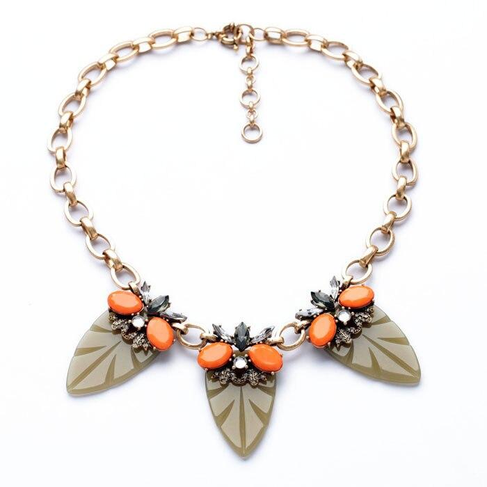 Dress Accessories Fashion Design Acrylic Zinc Alloy Best Seller Chic Gold Color Oval Orange Gem Leaf Chokers Necklace