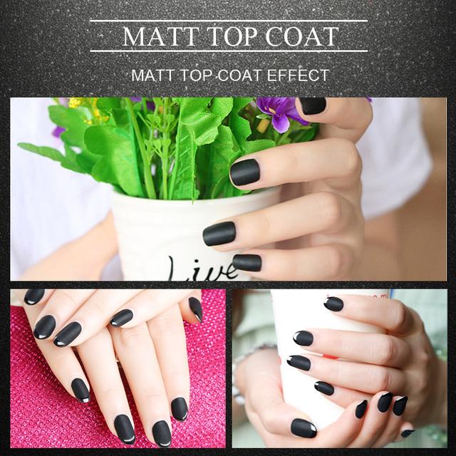 Saviland 1pcs 10ml Matt Varnish Matte Top Coat Nail Gel Polish Nail Art Finish Top Coat Gel Lacquer Matt Top Gel