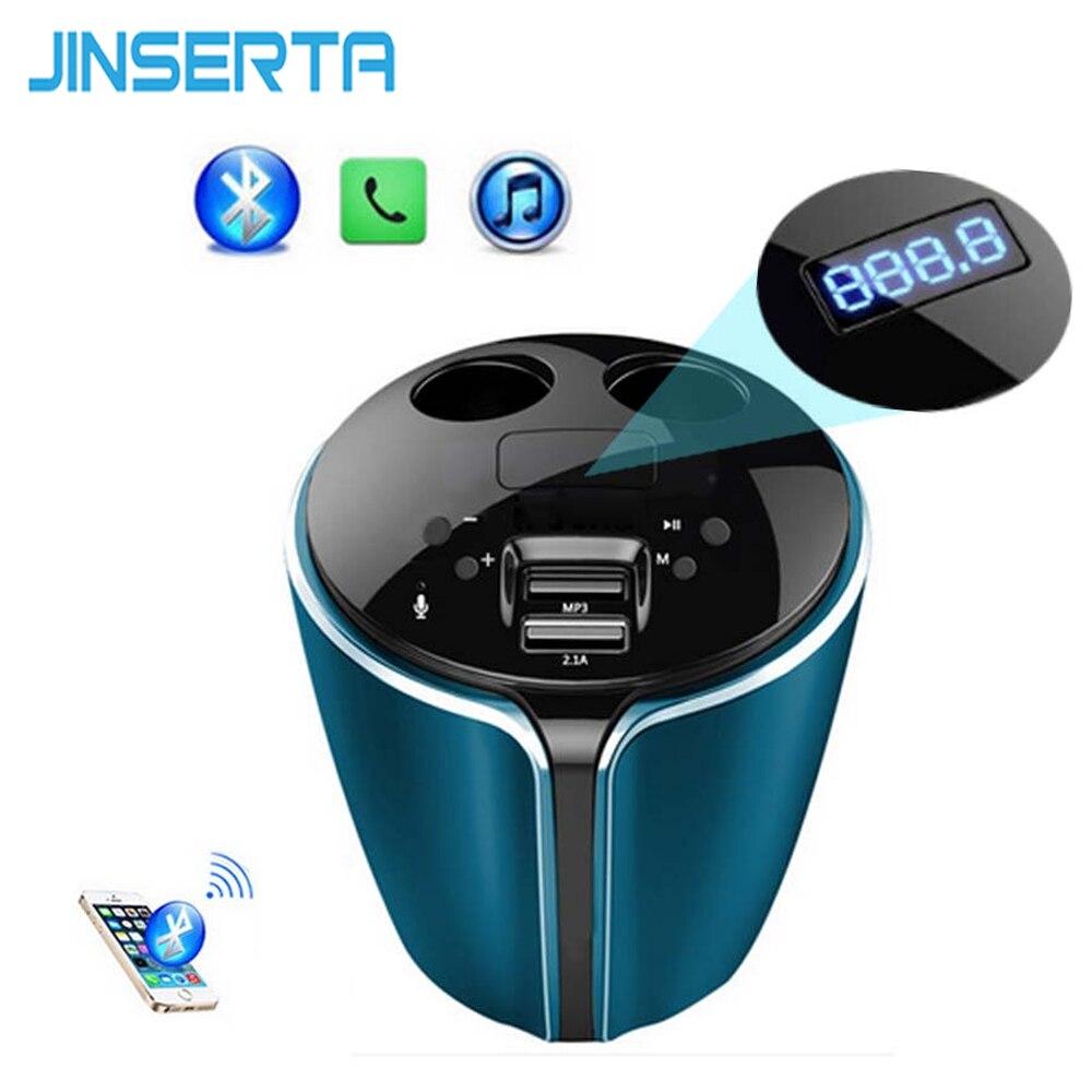 JINSERTA Music MP3 Player Bluetooth Car Kit FM Transmitter HandsFree Cigarette Lighter Adapter Splitter 2 Ports USB Charger
