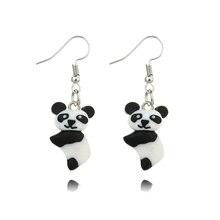 New Hot Fashion jewelry handmade soft clay Cute Cartoon Panda Earrings Handmade Polymer Clay Animal for Women Children