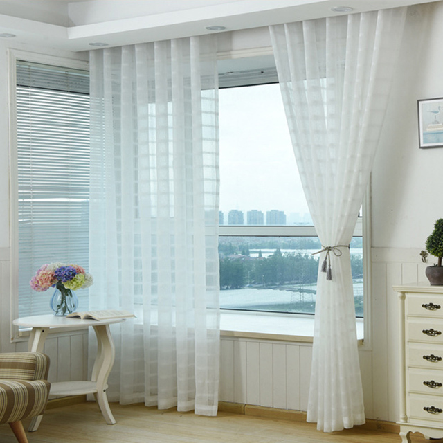 blanco tulle cortinas cortina translcida saln cocina cortinas europa estilo casa decoracin geomtrica pegatinas para uas - Cortinas Salon