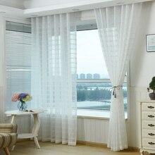 Белый Тюль Полупрозрачные занавески шторы гостиная кухня s Европа стиль украшения дома геометрические узоры s