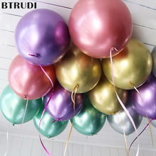 BTRUDI 10pcs thickened metal balloons 12inch gold silver green purple red wedding scene arrangement birthday party decoration