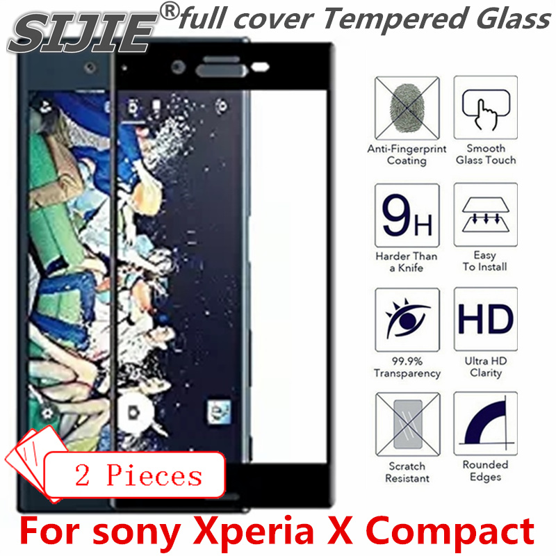 2 Pcs Full Cover Tempered Glass For Sony Xperia X Compact Suitable Screen Protective Toughened Fit On Frame Edges Case Friendly