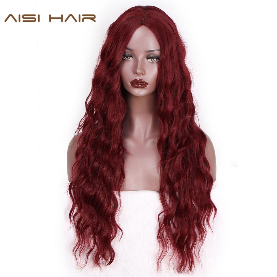 AISI HAIR 26 Inch Long Red Wavy Wigs Synthetic Wig For Black Women Black Brown Natural Middle Part Heat Resistant Hair
