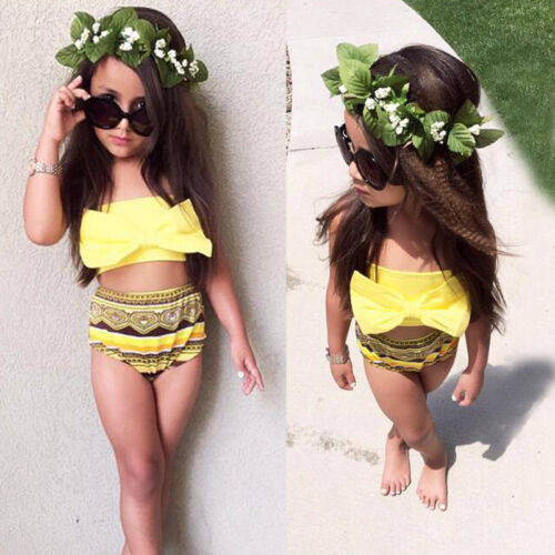 2PCS Kids Baby Girls Bikini Suit Bowknot Swimsuit Swimwear Bathing Swimming Set Sleeveless Lovely Fashion High Quality 2019 New