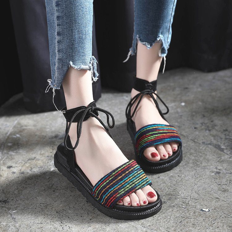 Casual Lace-up Rome Gladiator Women Sandals Solid Ankle Strap Shallow Women Shoes Summer Fashion Flat Sandals 2