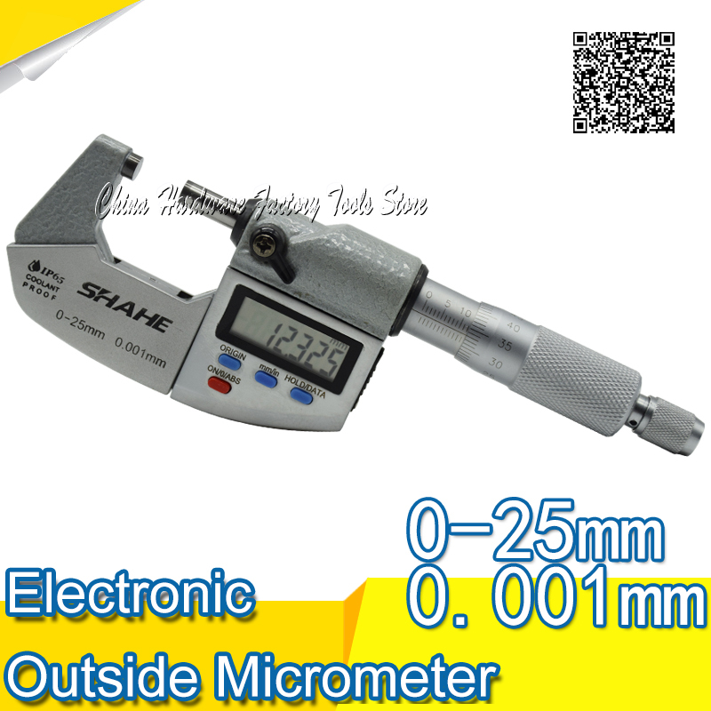 Free Shipping SHAHE IP65 Waterproof Digital Micrometer Gauge Outside 0.001 mm 0-25mm 0.001 mm micrometer free shipping high quality outside micrometer mechanical micrometer micrometer calipers range125 150 mm screw micrometer