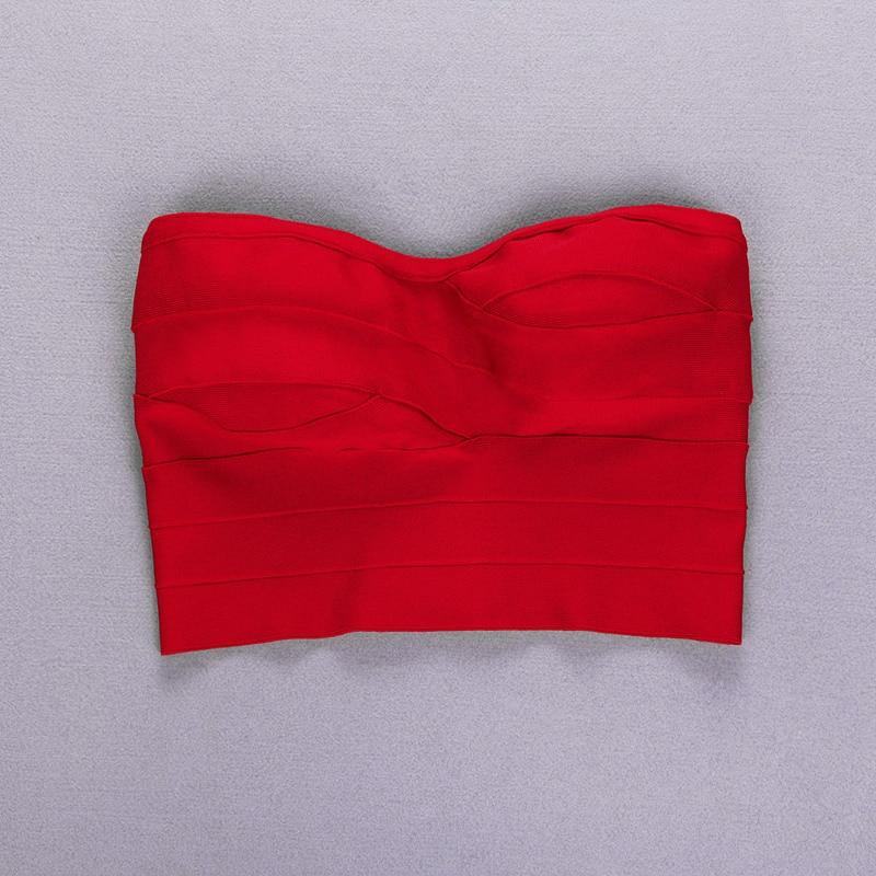 Bevencel новые женские топы без бретелек красные бандажные топы летние топы - Цвет: red