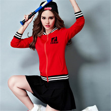 New Spring Women's Tennis Skirt Long Sleeved Clothing Korean Tennis Sports Sweater Slim Suit