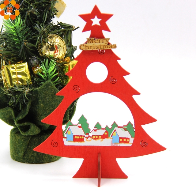 2pcslot diy wooden christmas tree desktop decoration home christmas party decorations kids gift christmas