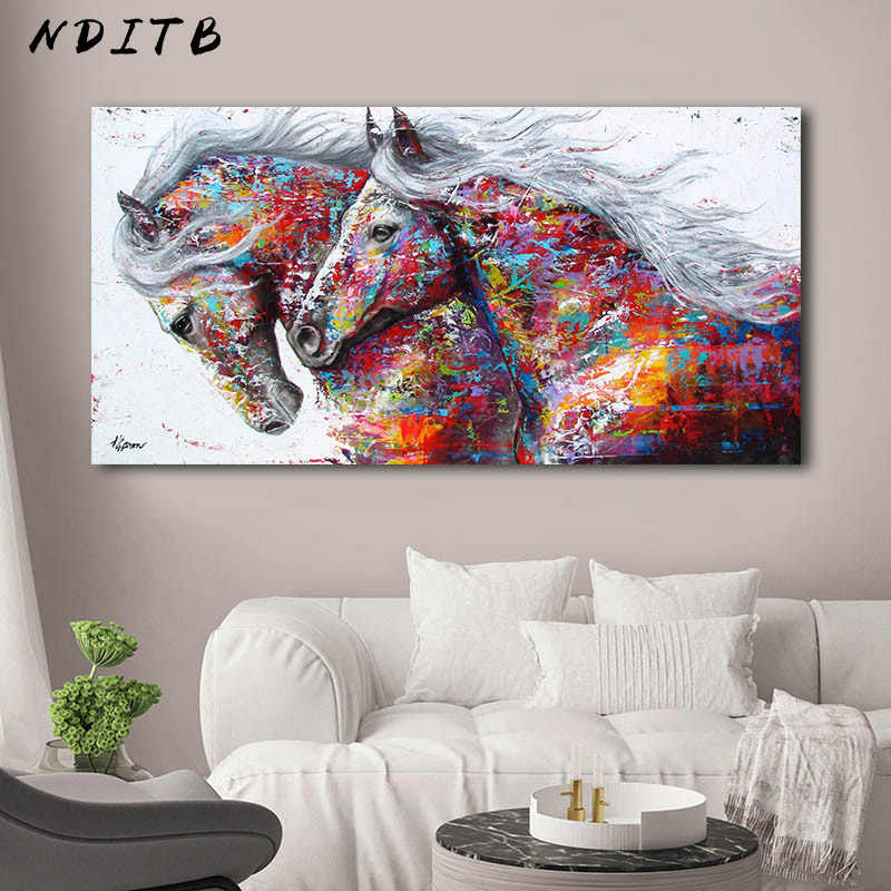 Colorful Horses Decorative Picture Canvas Poster Nordic Animal Wall Art Print Abstract Painting Modern Living Room Decoration