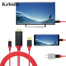 Kebidu 2m usb 3.1 tipo c para hdmi ultra hd 1080p 4k de carregamento hdtv vídeo cabo adaptador conversor para samsung s8 para xiaomi mais novo