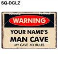 [SQ-DGLZ] Новый индивидуальный заказ Предупреждение человек пещера жестяная вывеска бар настенный Декор Бар Изделия из металла домашний декор ...