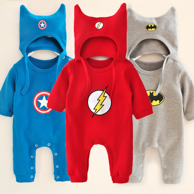 174f4c005b02 Newborn Baby Romper Brand Infant Cotton Long Sleeve Superhero Clothes 2 Pcs  Hat+Romper Spring Autumn Style Gentleman Jumpsuit