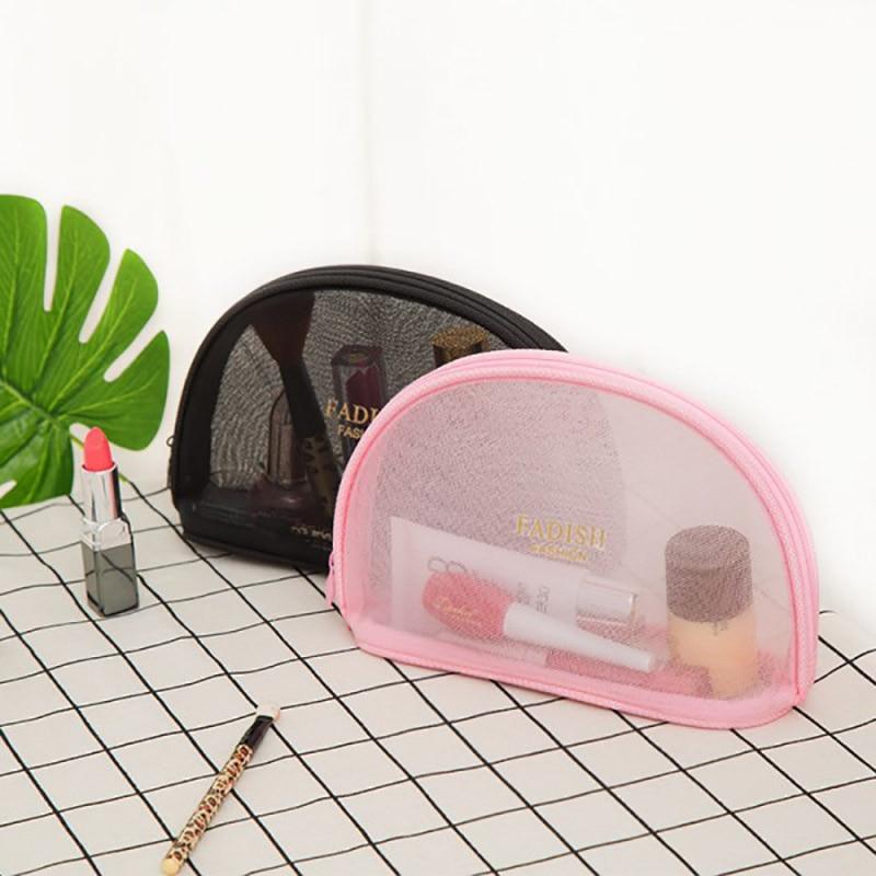 2017 Clear Mesh Cosmetic Bag para maquillaje Organizador de almacenamiento de viaje de viaje bolsa de maquillaje estuches cosméticos 3 estilo