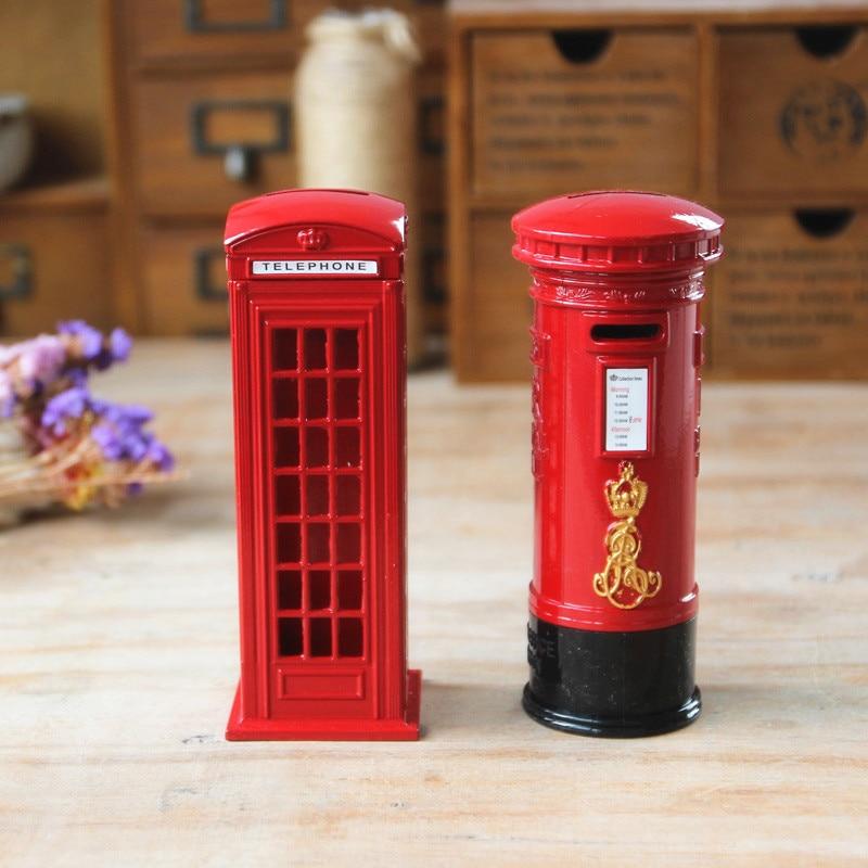 Creative Rouge Londres Cabine Téléphonique Boîte Aux Lettres Tirelire En Métal Tirelire Coin banque Souvenir Modèle Boîte Grand Cadeau pour Kid Home Decor MB2