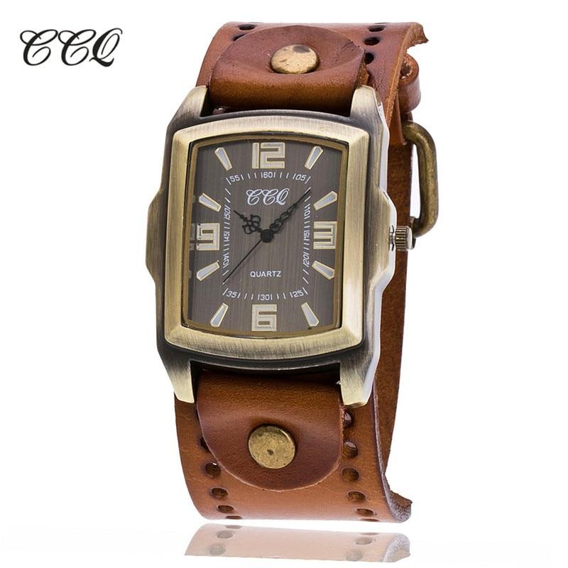 CCQ Vintage Fashion Cow Leather Wrist Watch Unisex Antique Casual Quartz Wrist Watch Relogio Masculino Relojes
