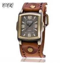 CCQ Cru De Mode En Cuir de Vache Montre-Bracelet Unisexe Antique Casual Quartz Montre-Bracelet Relogio Masculino Relojes Hombres C22