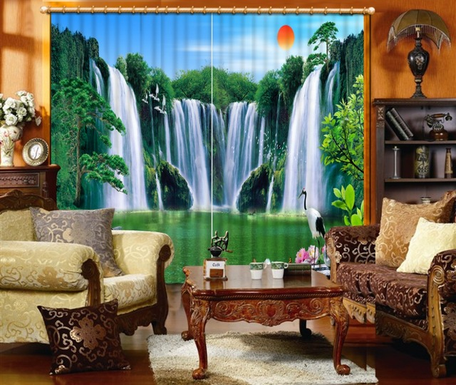 Top Custom Mountain Waterfall Scenery Curtains for Bedroom Living Room  VV91