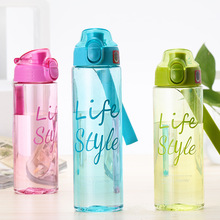 600ML Plastic Water Bottle Transparent Push switch Simple Portable Child Student Sports Summer Drinken Flessen