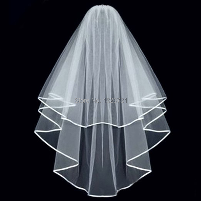 Wholesale Simple White Ivory Tulle Wedding Veils Two Layer Ribbon Edge Custom Made Bridal Accesories Hot Sale