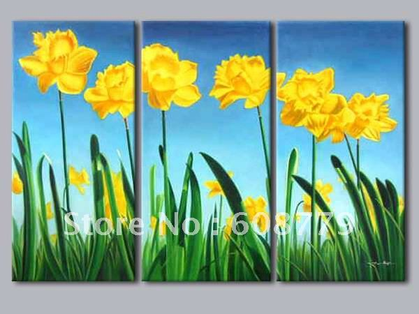 Free shipping stretched reality yellow flower oil paintingFree shipping stretched reality yellow flower oil painting