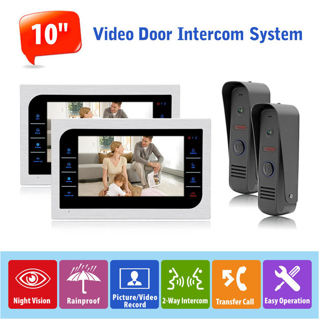 Bon High Resolution 10 Inch Video Door Phone Recording Monitoring System Home  Intercom Front Door Camera Doorbell