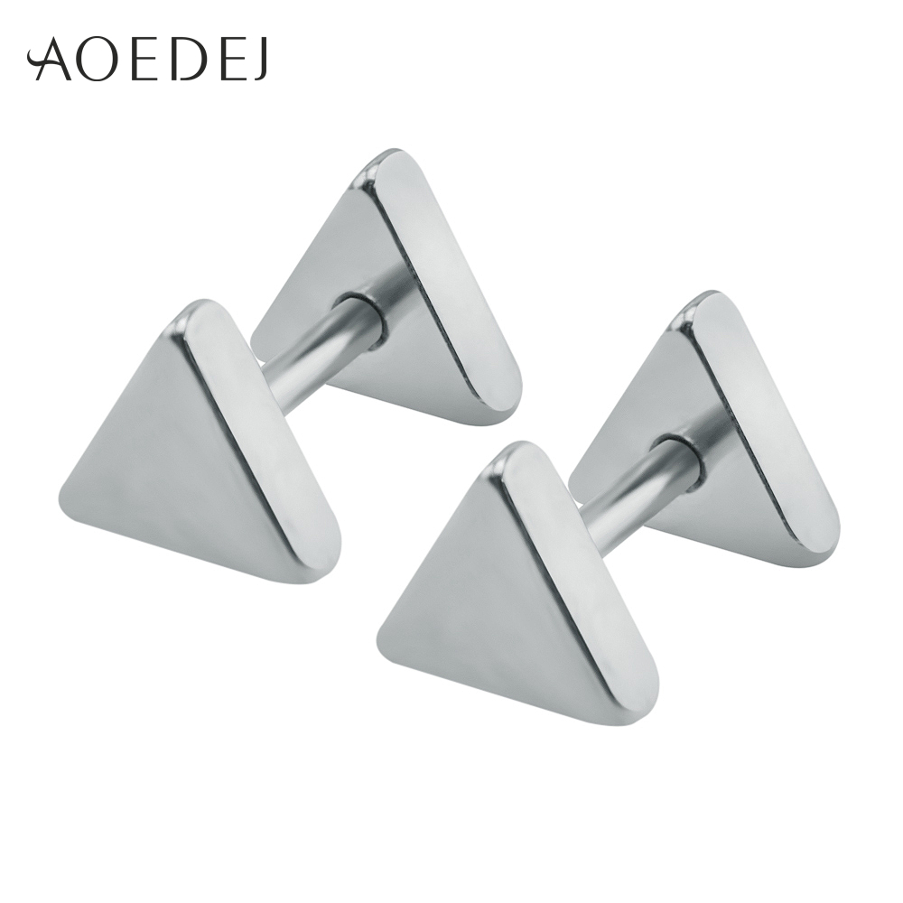 - 5-10mm Triangle Mens Earrings Black Stud Stainless ...