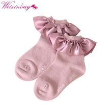 2017 Newborn Cotton Cozy Vintage Lace Ruffle Frilly Ankle Socks Baby Girl's Socks Kid Baby Knitted Knee Lace Leg Warmers