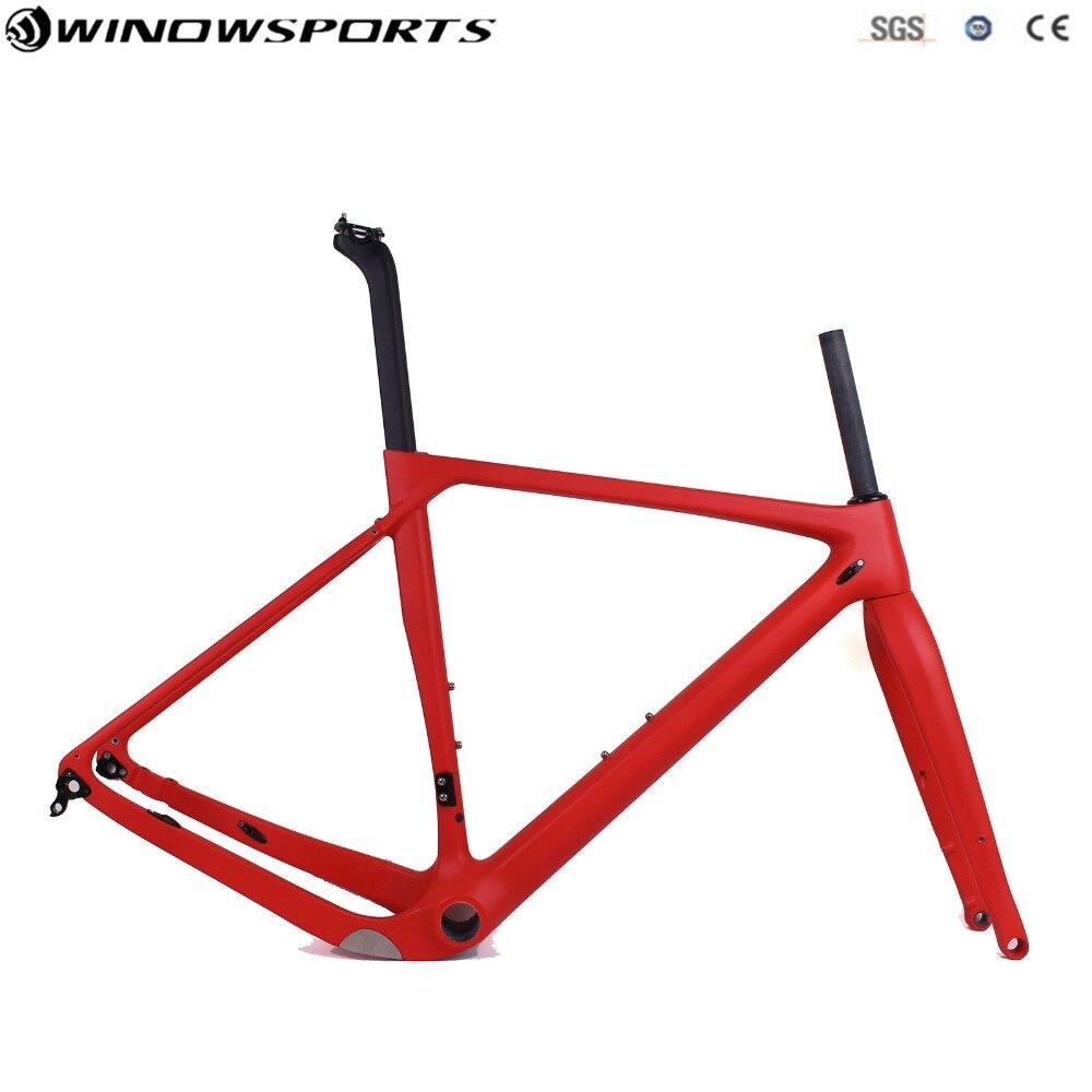 2019 Popular Gravel Bike Frameset Full Carbon Bicycle Frame Road Bike Cyclocross Frame 140mm disc brake Gravel bike frameset