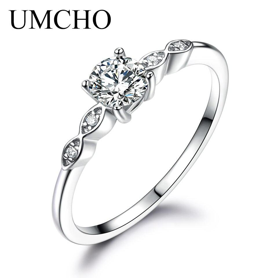 UMCHO Silber 925 Schmuck Luxus Braut Zirkonia Ringe Für Frauen Solitaire Engagement Hochzeit Party Marke Edlen Schmuck