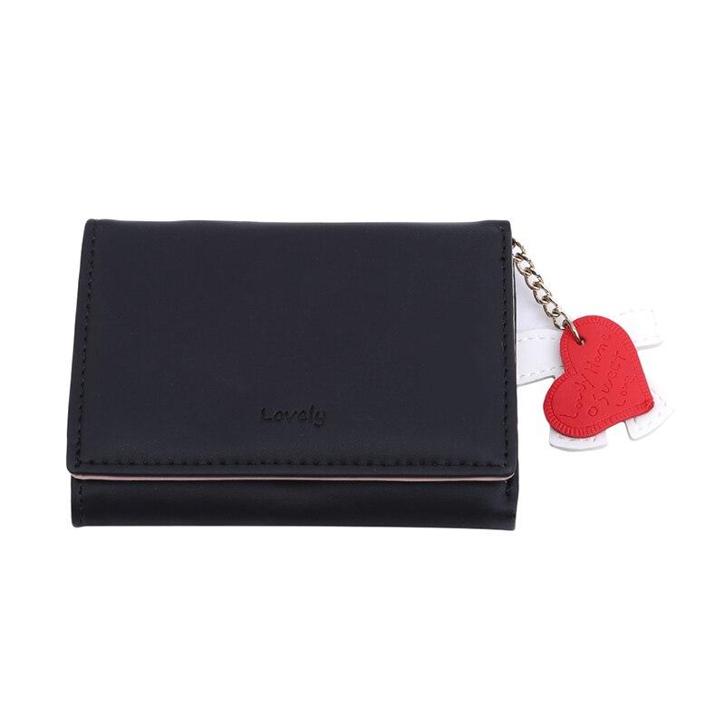 Лидер продаж Кошелек из искусственной кожи высокого качества Kawaii милый бант в форме сердца мини Кошельки для монет для женщин - Цвет: black