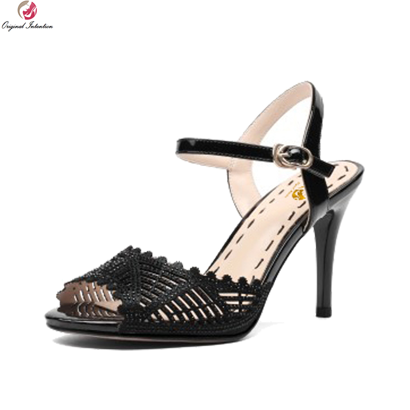 Original Intention Stylish Women Sandals Cut outs Leather Peep Toe Thin Heels Sandals Black Nude Ladies