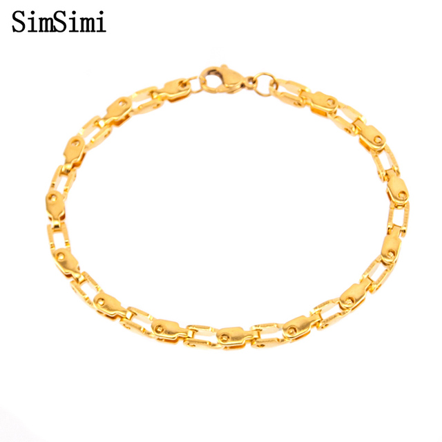 Pulseira Masculina Stainless Steel Bracelets Square Box Link Chain Gold/Silver Color Bracelet Bangle Jewelry Gift for friend