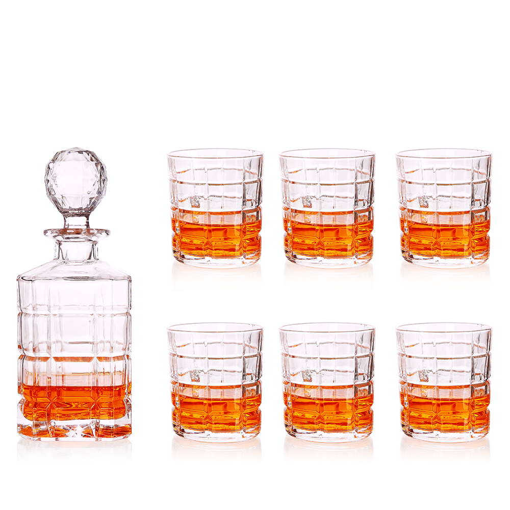 7-Piece Glass Decanter & Whisky Glasses Set 6 Pcs Cocktail Glasses Elegant 750ML Whiskey Decanter With Ornate Stopper