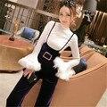 Estilo coreano mulheres manga flare ternos moda primavera t camisa e calças perna larga definir magro ocasional das senhoras fatos de treino 63804