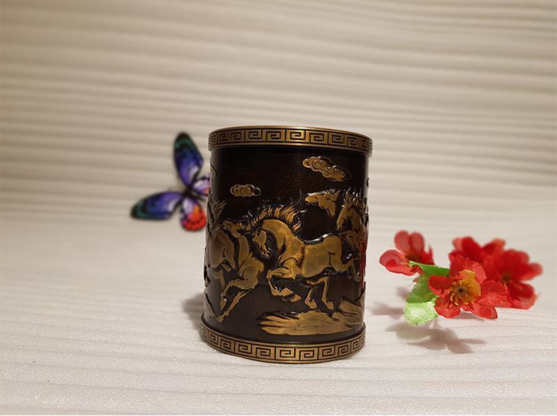 Vintage Chinese style bronze pen holder (1)
