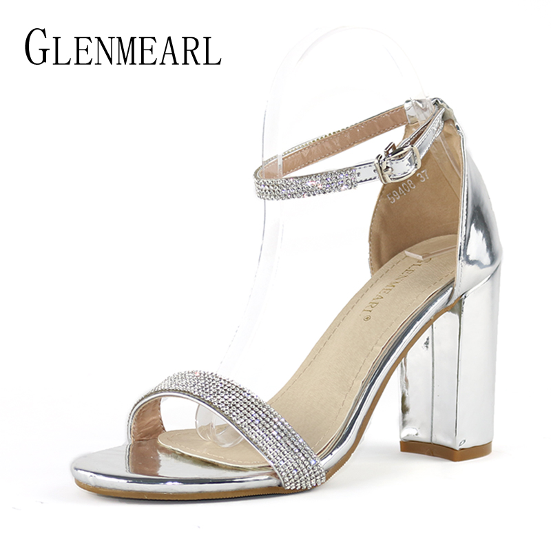 Brand Woman Shoes High Heels Women Sandals Summer Rhinestone Open Toe Ankle Strap Sandals Silver Thick Heels Party Pumps Size DE