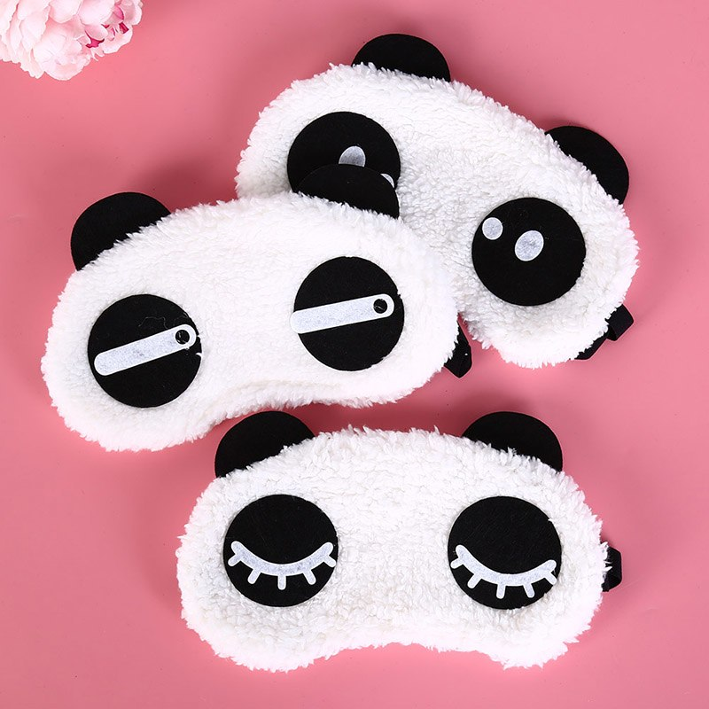 1pc Black Mask Bandage On Eyes For Sleeping Cartoon Panda Relaxing Ice Or Hot Compress Eyeshade Sleeping Mask