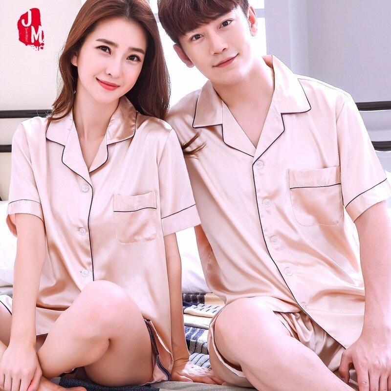 Silk Men Pajama Sets Solid Men Sleepwear Suits Short Couples Pyjamas Male Satin Men's Pajamas Casual Sleepwear Men's Summer XXXL